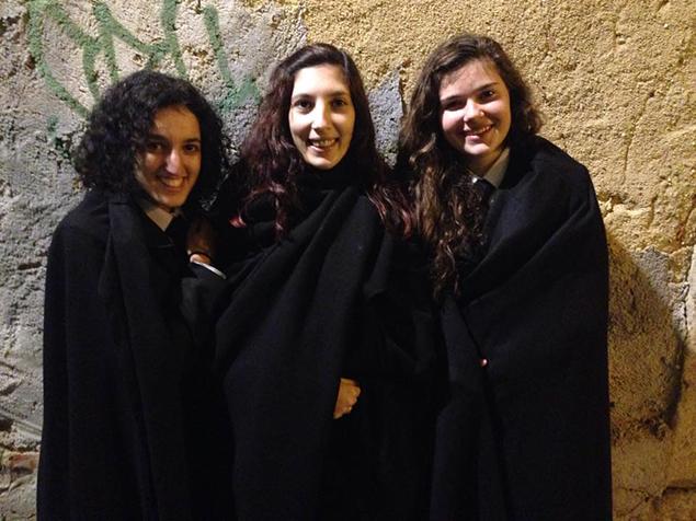 Da esquerda para a direita: Maria ''Zinha'' Silva, Ana ''Amélia-Trapézio'' Ameixa e Margarida ''Turbinesa'' Moreninho